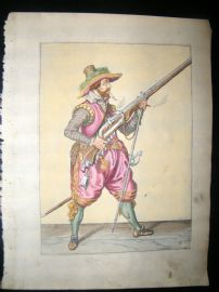 Jacob de Gheyn 1608 Fine Hand Coloured Musketeer Print 11